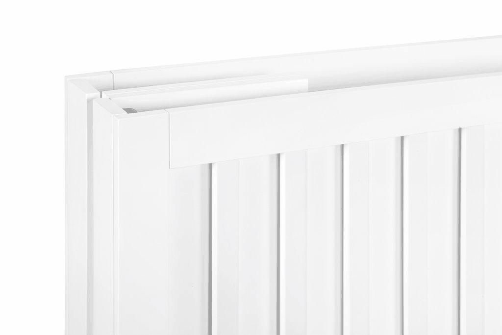 Babyletto Maki white folded closeup on top hinge section