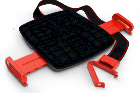 MiFold car seat black and red open with strap