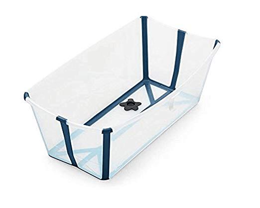Stokke Flexi Bath in transparent blue open