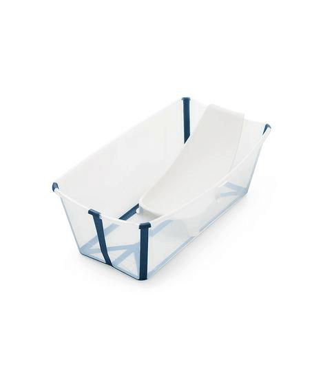 Stokke Flexi Bath in transparent blue open with newborn insert
