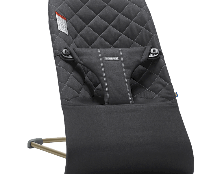 BabyBjorn Bouncer Bliss in black quilted cotton open