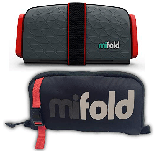 MiFold dark gray folded and wrapped in strap and black carrying bag