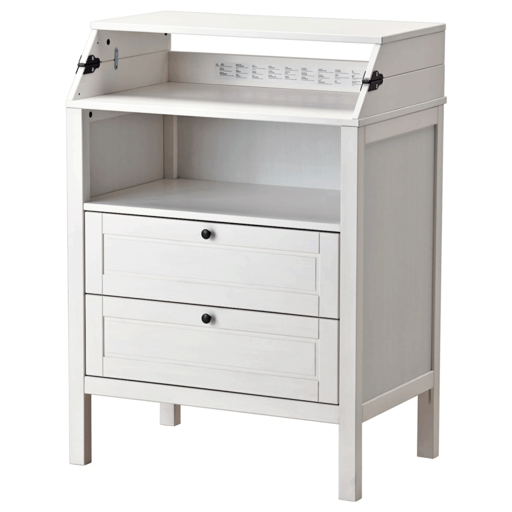 Ikea Sundvik in white with folded changing table