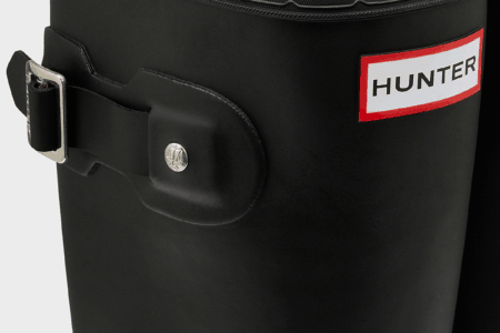 Hunter Packable Rain Boots black closeup on top buckle and logo