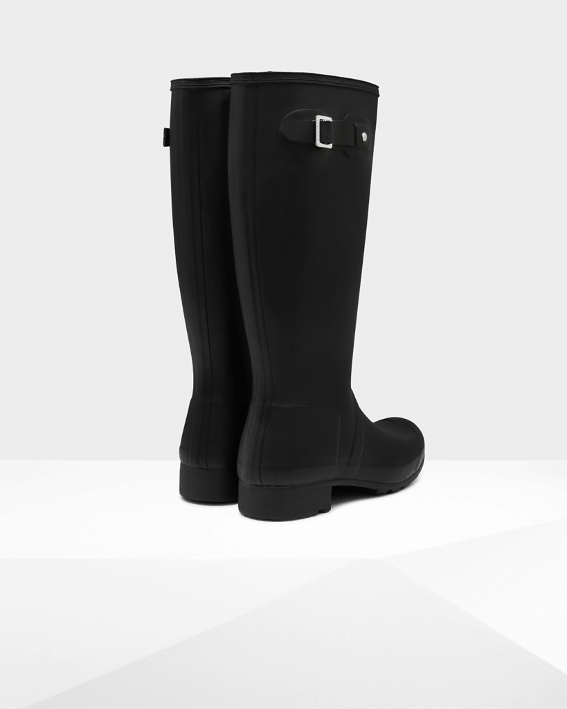 Hunter Packable Rain Boots in black open back view