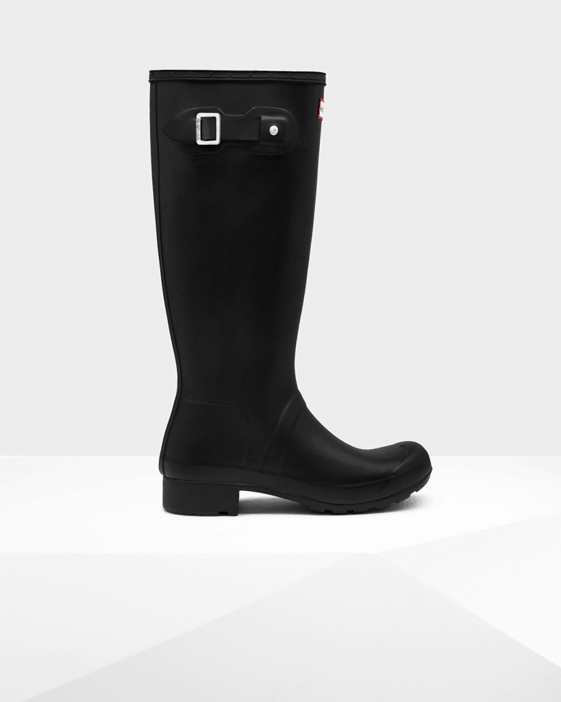 Hunter Packable Rain Boots in black open side view