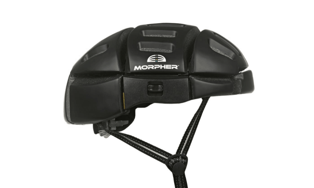 Morpher helmet matte black full view from side with chin strap