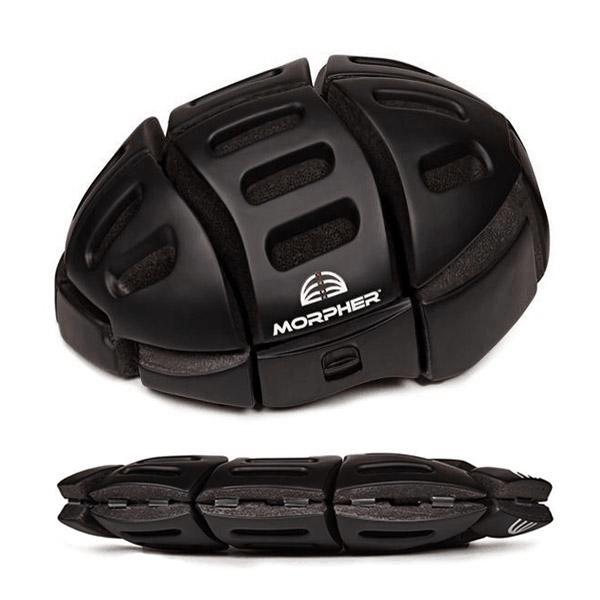 morpher helmet open and folded in matte black