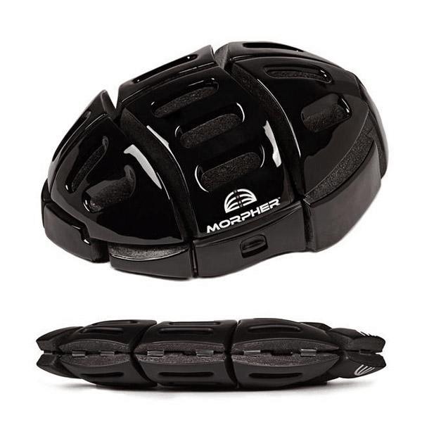 morpher helmet open and folded in shiny black