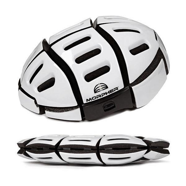 morpher helmet open and folded in white