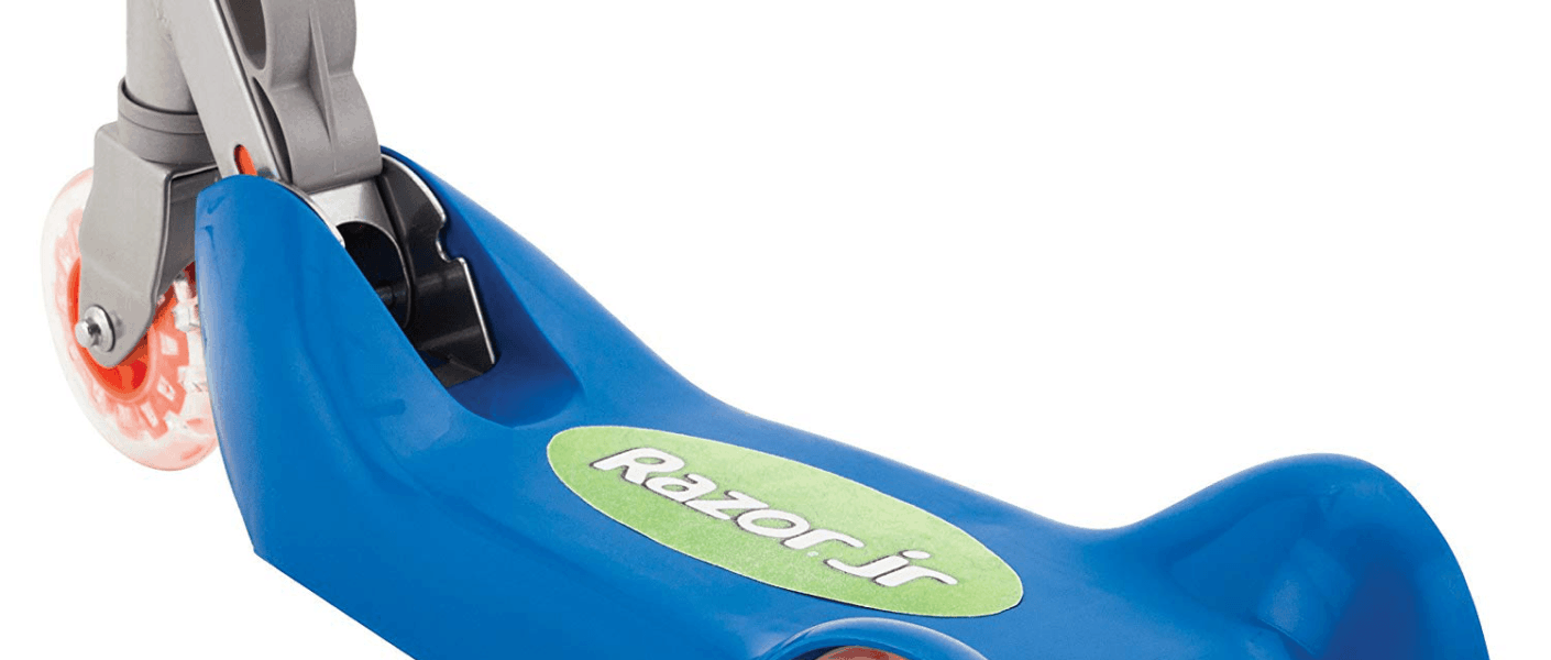 Razor Jr Folding Kiddie Kick Scooter in blue and orange, open closeup on board