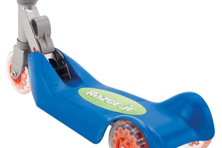 Razor Jr Folding Kiddie Kick Scooter in blue and orange, open closeup on board
