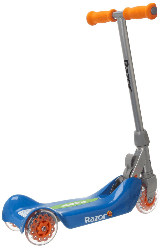 Razor Jr Folding Kiddie Kick Scooter in blue and orange, open