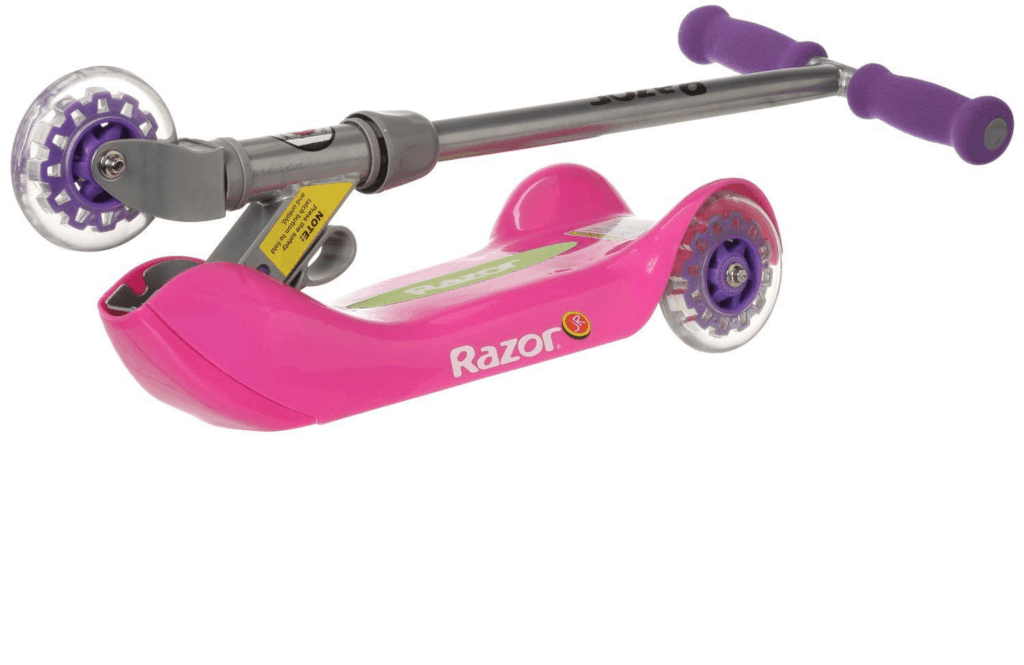 Razor Jr Folding Kiddie Kick Scooter in pink and purple, folded with handlebar part resting on top