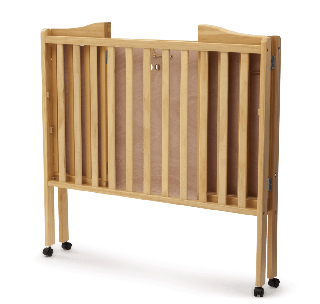 Delta Crib in natural wood folded