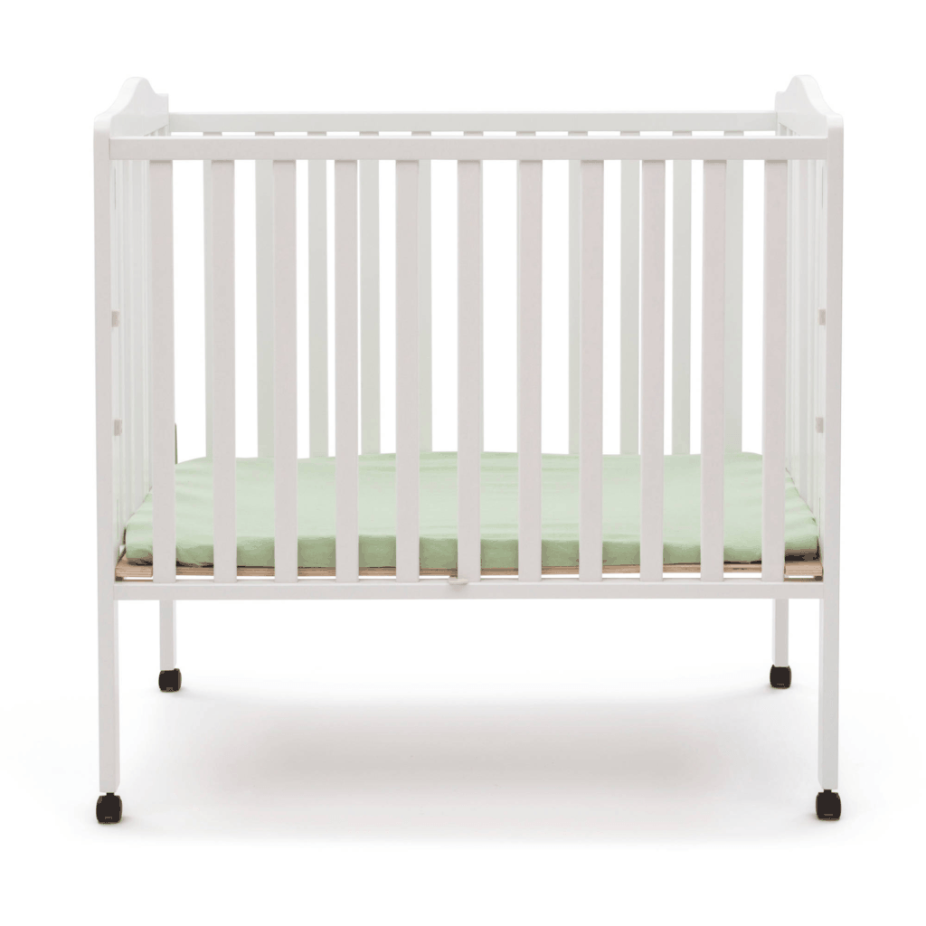 Delta Crib in white open front view