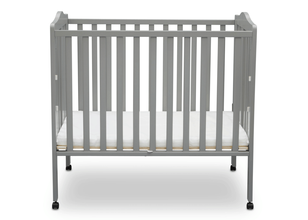 Delta Crib in gray open front view