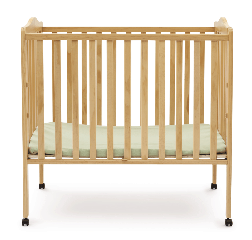 Delta Crib in natural wood open front view