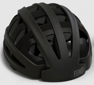 Fend helmet in black open from front view