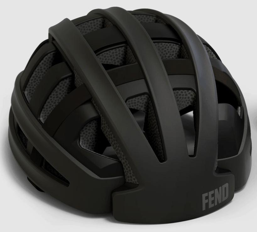 Fend helmet in black open from front view