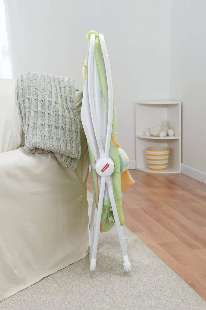 Fisher-Price Rock-n-Play Portable Bassinet in lime green folded