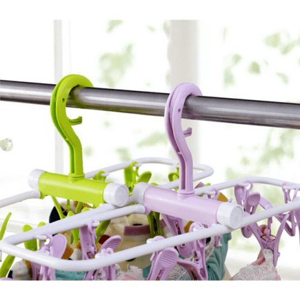 Inoutdoorkit Folding Travel Clip & Drip Laundry Drying Hanger Rack both green and light purple open hanging closeup