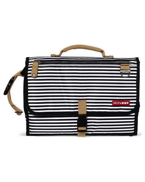 Pronto folded in black stripe straight horizontal alternating black and white lines with tan trim
