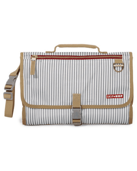 Pronto folded in french stripe thin vertical alternating gray and white lines with tan trim