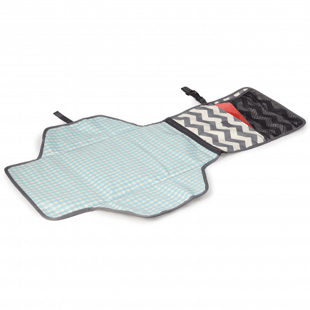 Skip Hop Pronto Signature Changing Station in Chevron open turquoise changing mat with gray and white zigzag pouch