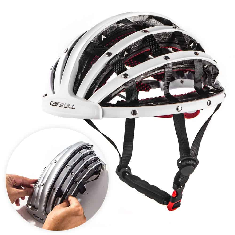 Cairbull folding helmet in white showing both open and folded positions