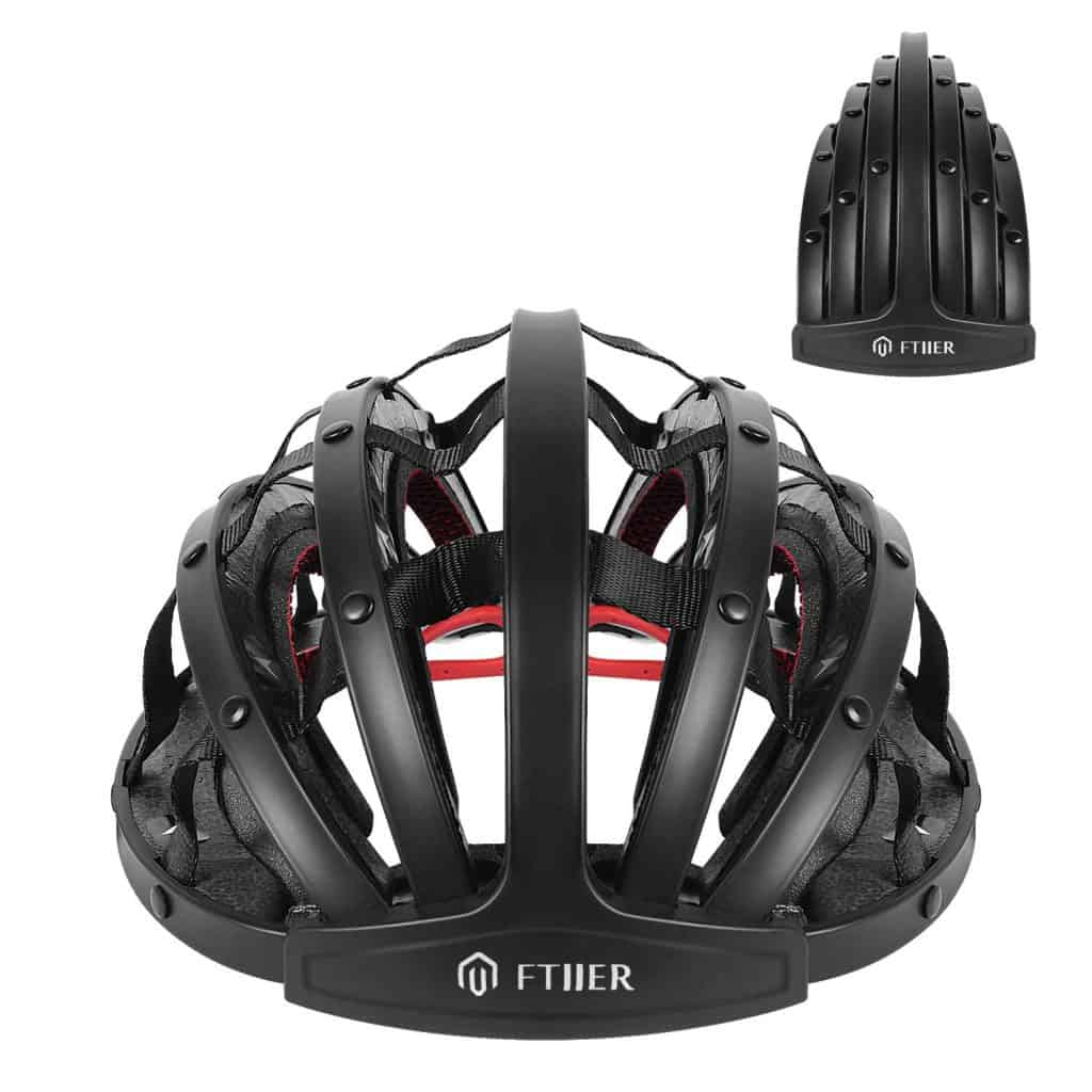 Ftiier folding helmet in white showing both open and folded positions