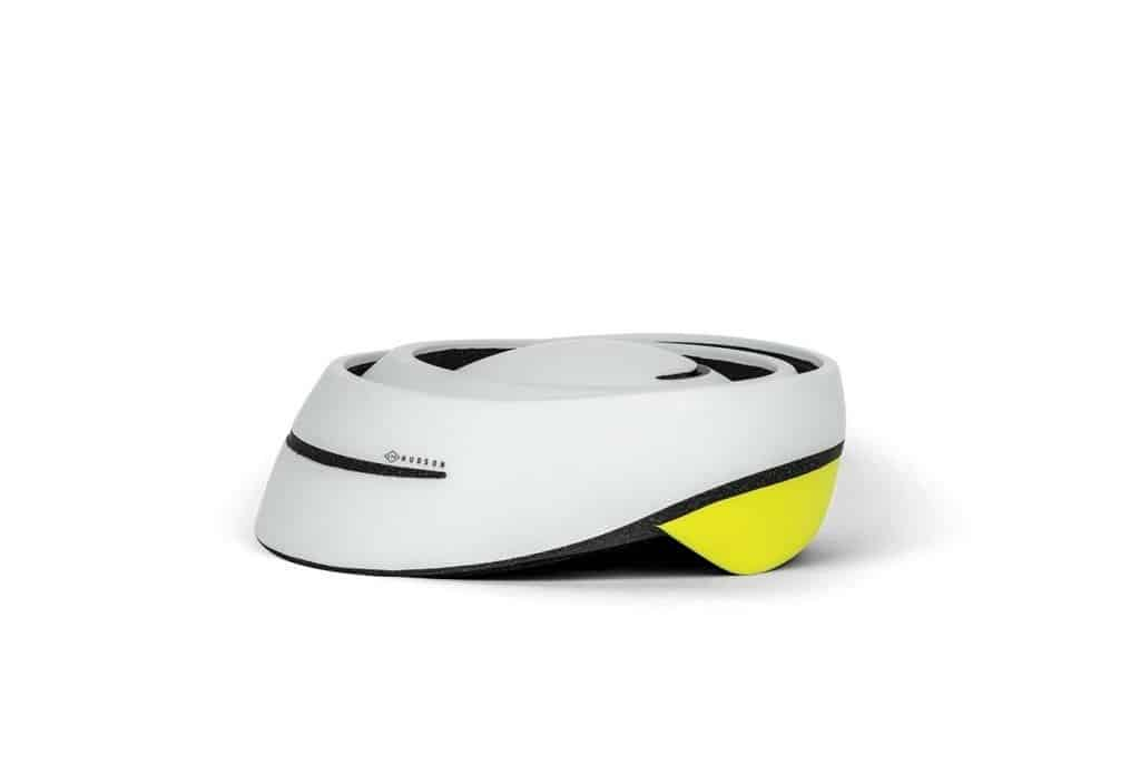 174Hudson-Stack foldable helmet in grey neon folded side view