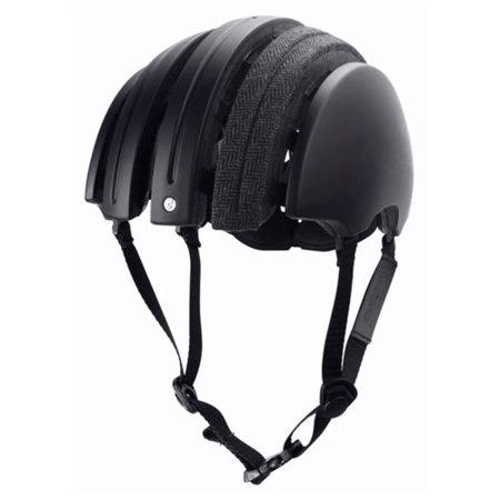 Carrera folding helmet in black with grey herringbone longitudinal fabric strip on top open