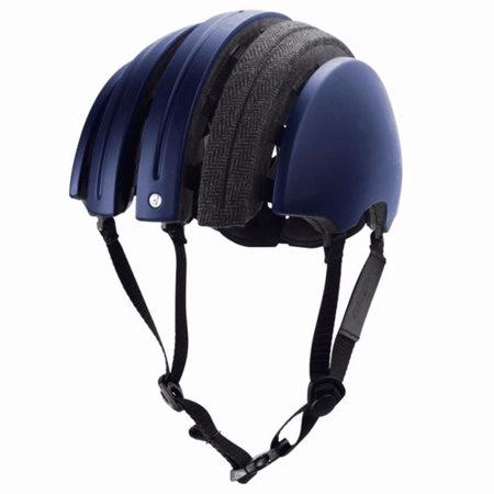 Carrera folding helmet in dark blue with grey longitudinal fabric strip on top open