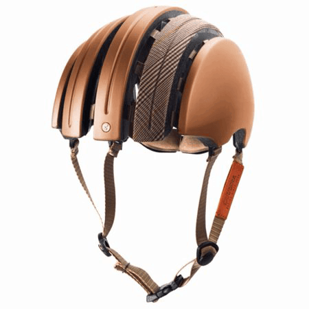 Carrera folding helmet in copper with matching color longitudinal fabric strip on top open