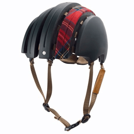 Carrera folding helmet in dark green with red tartan longitudinal fabric strip on top open