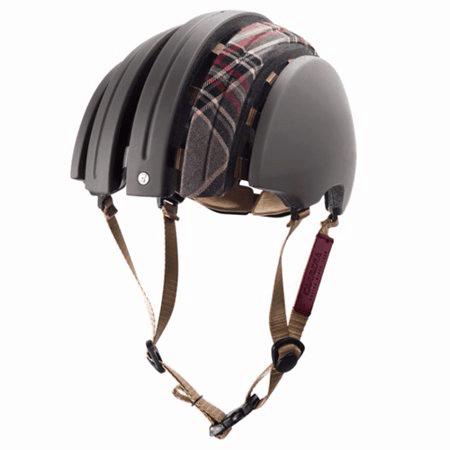 Carrera folding helmet in grey with tartan longitudinal fabric strip on top open