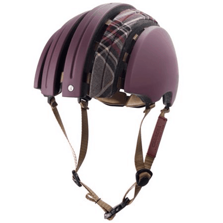 Carrera folding helmet in reddish purple with matching tartan longitudinal fabric strip on top open
