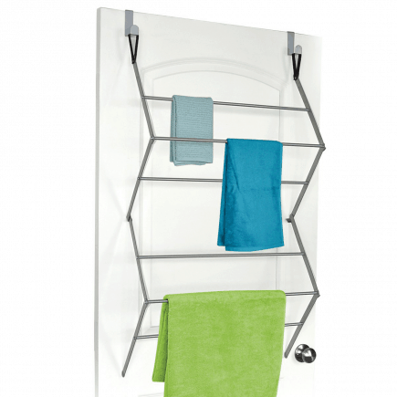 Homz over-the-door towel and garment drying rack open with three green and blue towels draped over it
