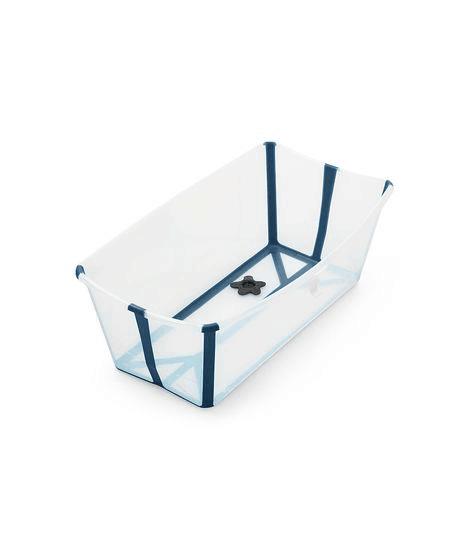 Stokke Flexi Bath baby bathtub open in transparent white with dark blue trim