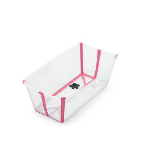 Stokke Flexi Bath baby bathtub open in transparent white with pink trim