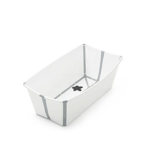 Stokke Flexi Bath baby bathtub open in white with grey trim