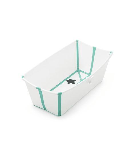 Stokke Flexi Bath baby bathtub open in white with aqua trim