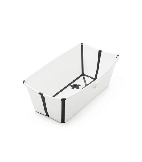 Stokke Flexi Bath baby bathtub open in white with black trim