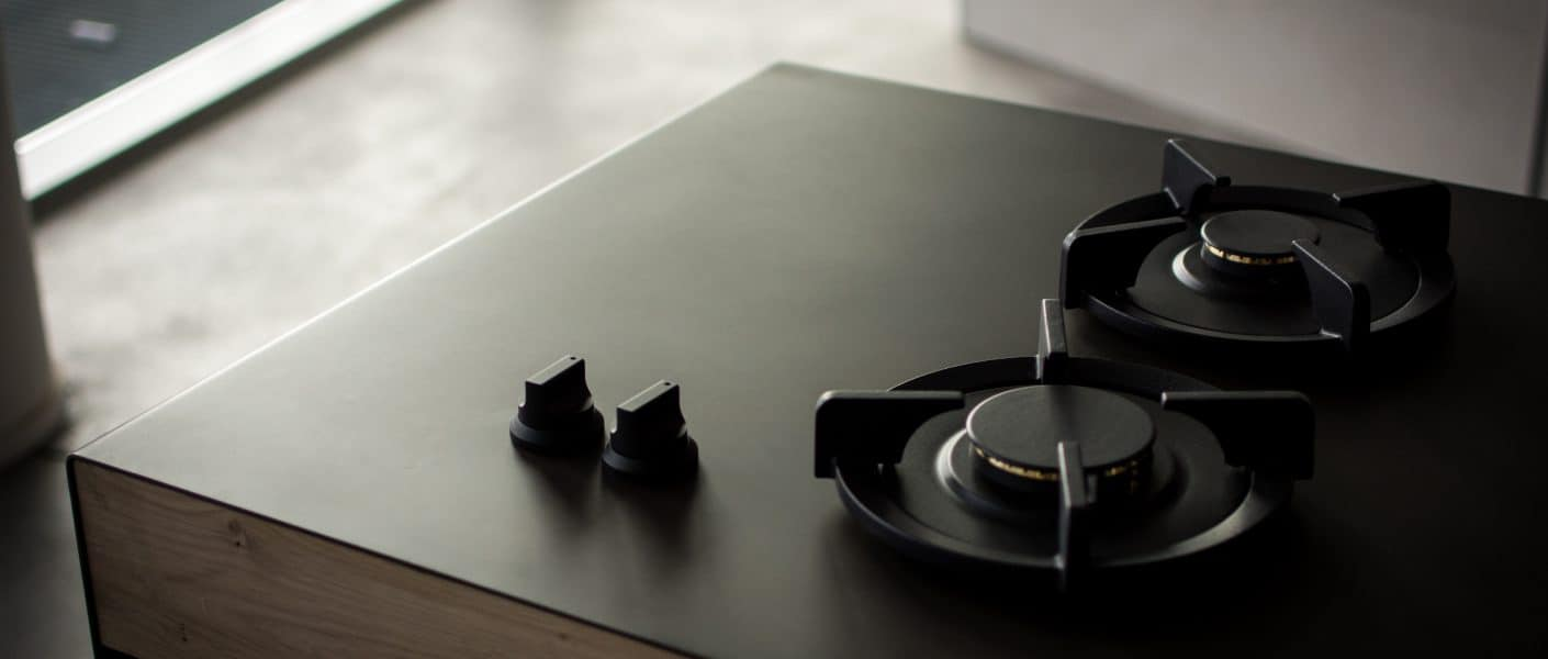 two burners on black surface