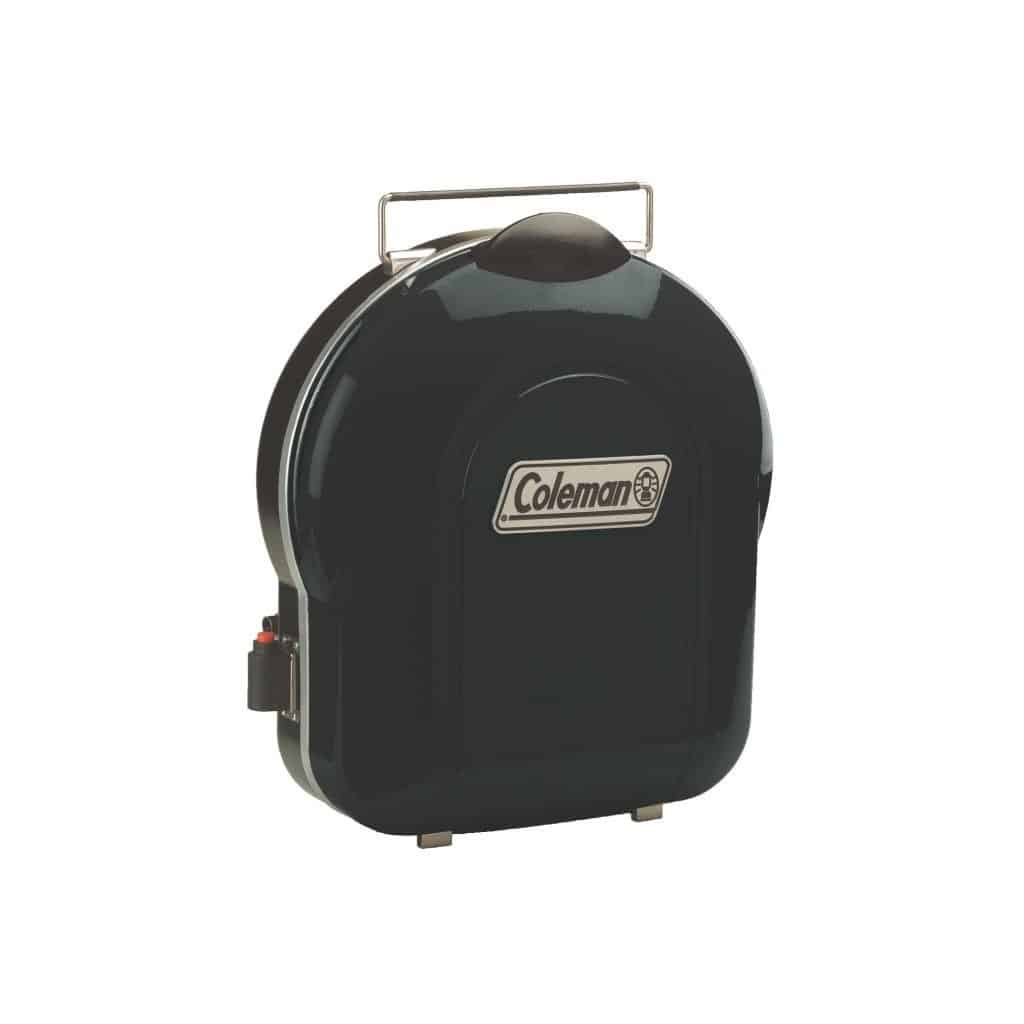 Coleman Fold-N-Go Grill in black folded upright