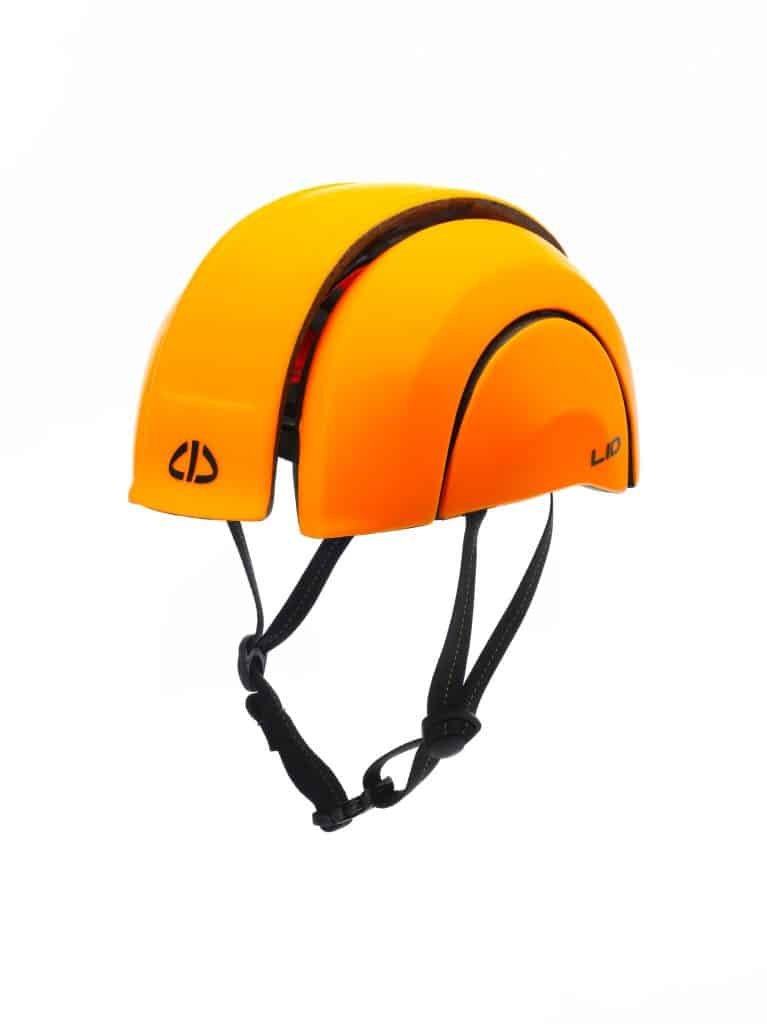LID-Plico helmet in orange open from front side view