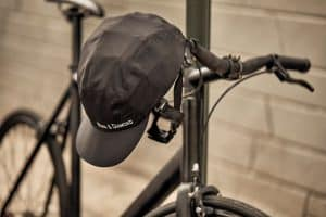 Park and Diamond helmet on bicycle handlebar