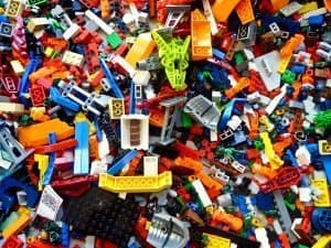 Plastic assorted LEGO pieces made from ABS