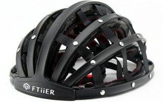 Ftiier folding helmet in black open front side view